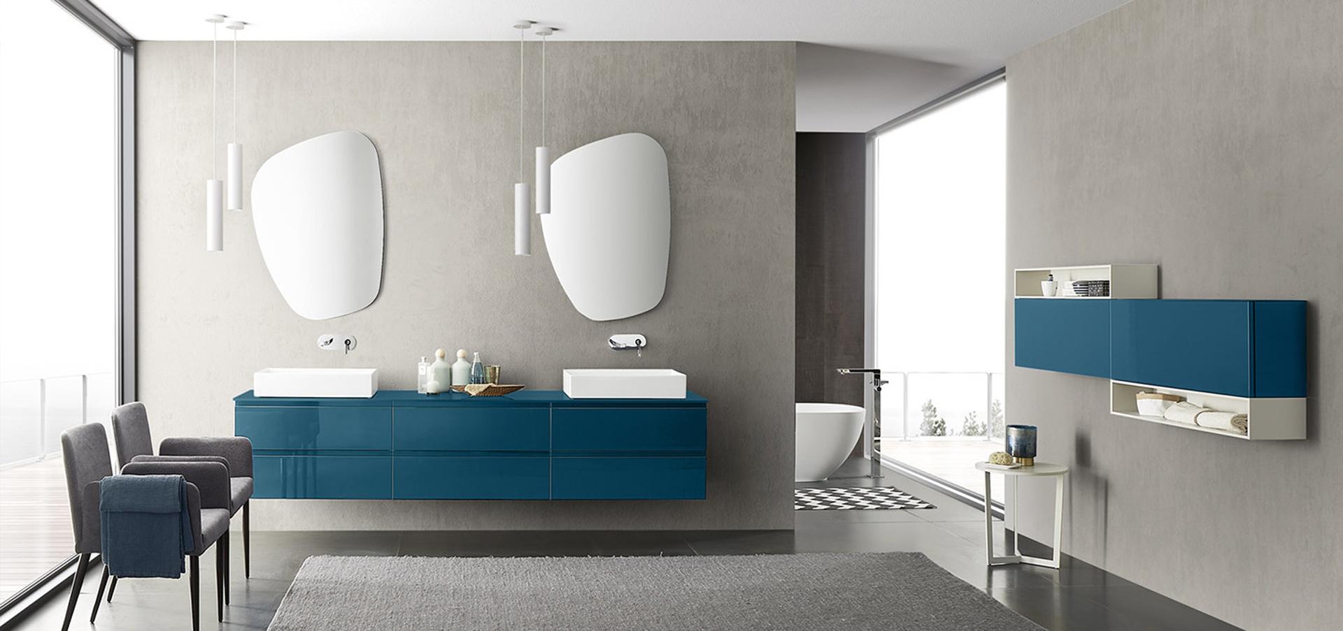 Arredamento Bagni Moderni - Colore Marrone Chiaro e Blu!