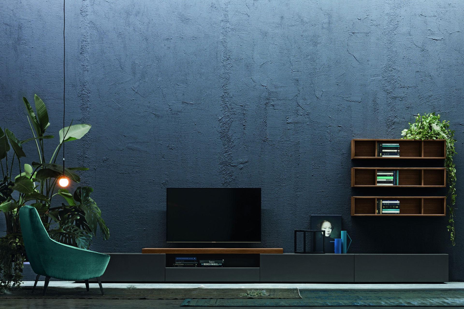 Soggiorno Moderno - Colore Grigio, Verde e Blu