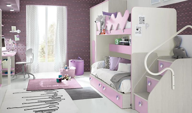 Letto a Castello per Bambini: Colore Bianco e Rosa